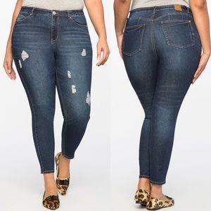 Eloquii Peach Lift Distressed Skinny Jean 18 NWOT